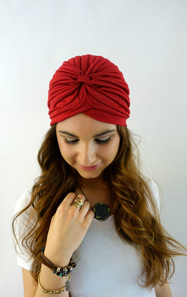 Pleated Turban - Wine Red or Choose Color