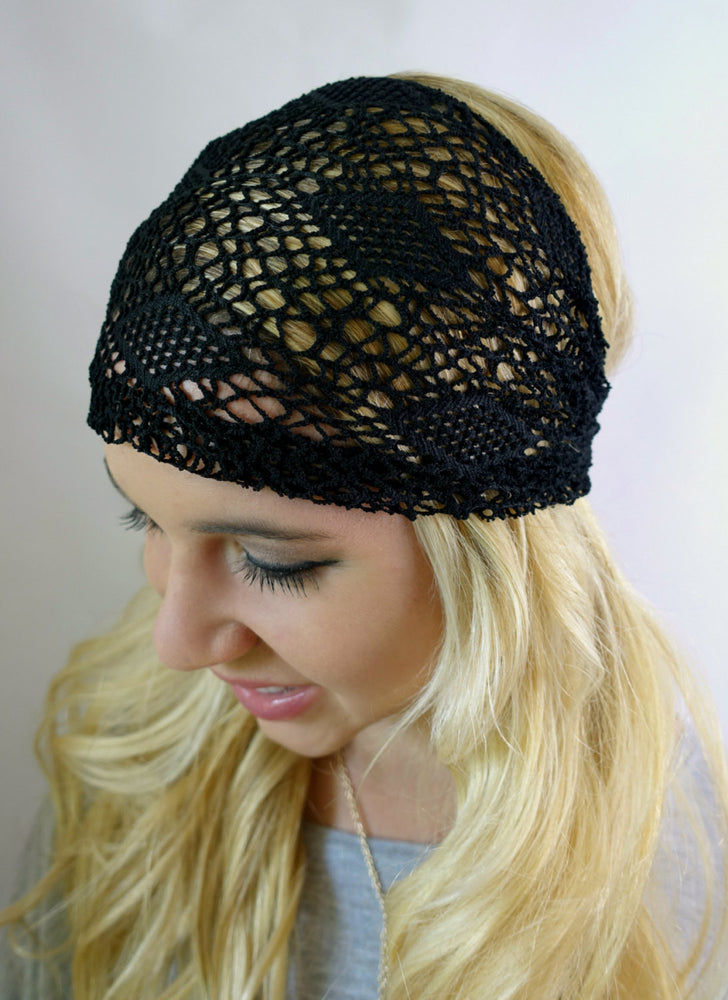 Black Lace Wide HeadBand Wrap