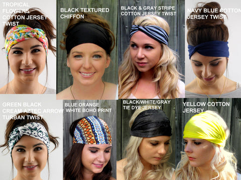 Head Scarf Yoga Headband Choose ANY THREE - Wide Stretch Headband Workout HeadBand Cotton Jersey Headband Turban Head Wrap - 40 Colors