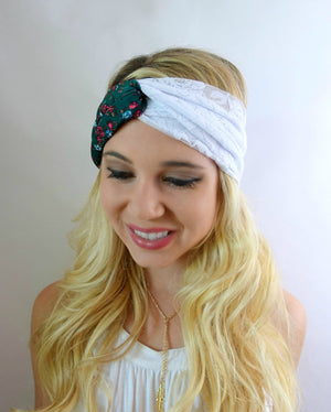 Turban headband twist lace headband