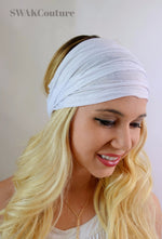 Yoga Head Wrap Cotton Jersey Wide Headband - White or Choose Your Color