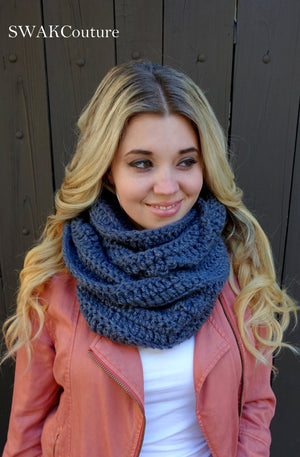 Womens Scarf Oversized Infinity Scarf Long Scarf Chunky Cowl Scarf Circle Scarf Handmade Eternity Scarf Blue or CHOOSE Your Color