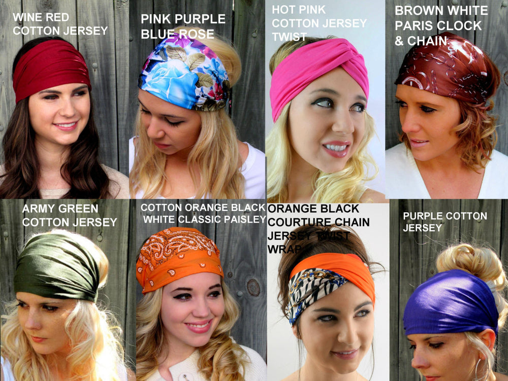 Wide Yoga Headband Choose ANY THREE Workout HeadBand Turband School Work Bands Running Headband Womens Hair Wrap Turban  40 Color Options