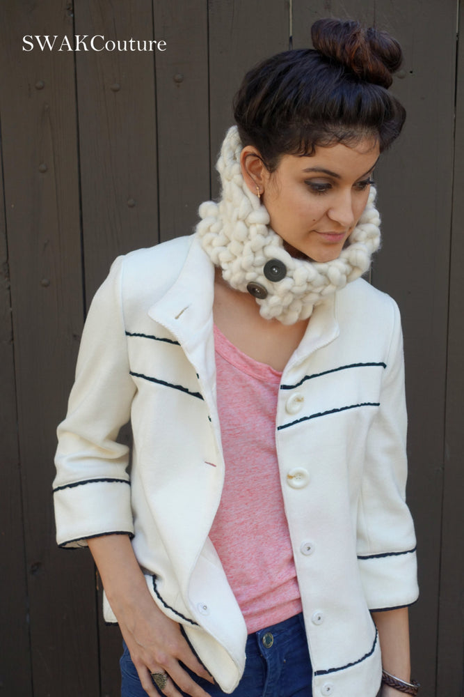 Chunky Neckwarmer Cowl - Winter White or Choose Color