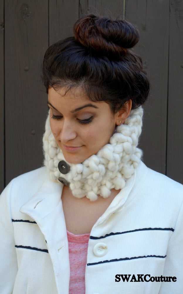 Womens Scarf Chunky Cowl Gift for her Handmade Knit Neckwarmer Wood Button Cowl Winter White or Choose Your Color