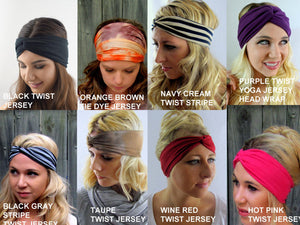 Yoga Headband Cotton Jersey Head Wrap Choose Any 3 Stretch Wide Headband or Twist Turban Headband Running Headband - Jersey Collection