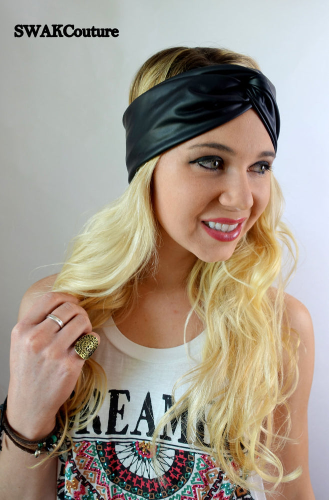 Vegan Leather Turban Headband Black Headband Wide Head wraps Womens Headband Twist Headband Bohomemian Hair Accessories