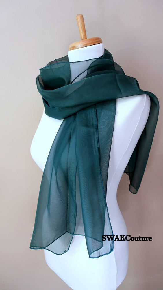 Chiffon Scarf Emerald Green Sheer Wrap Wedding Scarf Bridal Wrap Shawl Chiffon Stole Shawl Special Occasion Wedding Shawl - or Choose Color