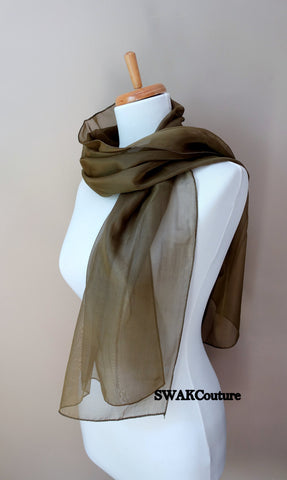 Chiffon Scarf Olive Green Sheer Wrap Wedding Scarf Bridal Wrap Shawl Chiffon Stole Shawl Special Occasion Wedding Shawl - or Choose Color