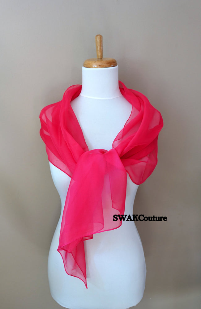 Chiffon Scarf Hot Pink Sheer Wrap Wedding Scarf Bridal Wrap Shawl Chiffon Stole Shawl Special Occasion Wedding Shawl - or Choose Color
