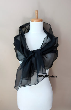Chiffon Scarf Black Scarf Sheer Wrap Wedding Scarf Bridal Wrap Shawl Chiffon Stole Shawl Special Occasion Wedding Shawl - or Choose Color