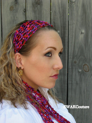 Boho Lace Head Wrap Scarf -  Silver or Choose Color