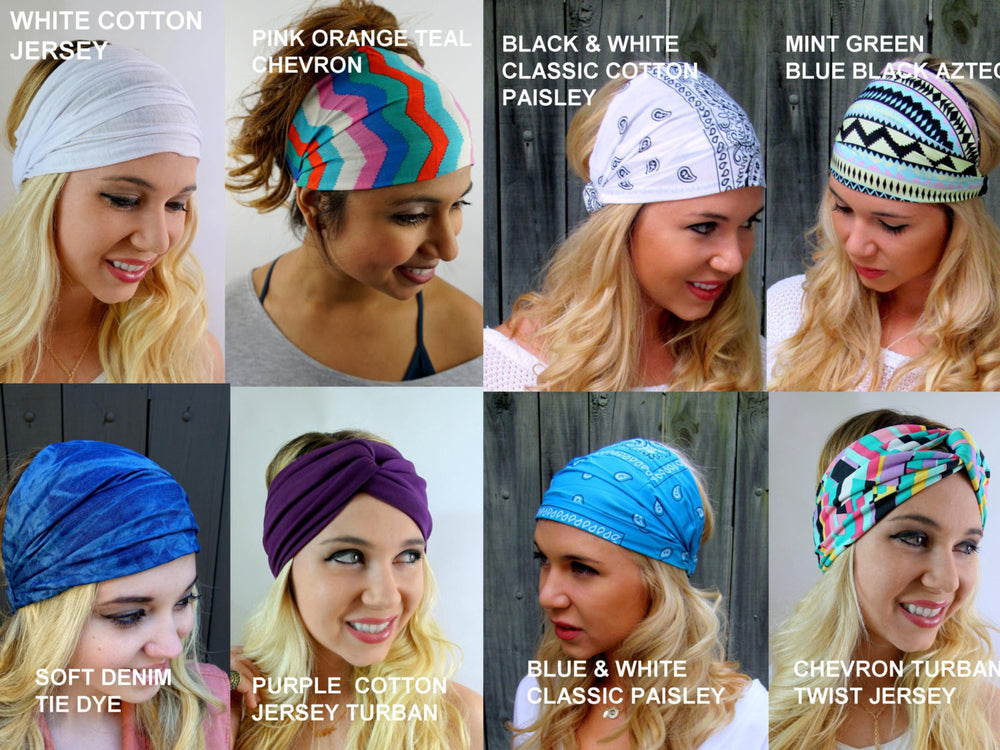 Yoga Headband Turban Turband Choose ANY THREE - Wide Stretchy Headband Workout HeadBand Cotton Jersey Headband Head Wrap - 40 Color Options
