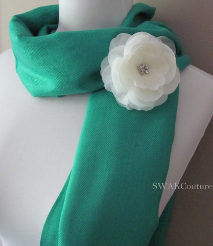 Jade Wedding Pashmina Scarf Bridal Shawl - or CHOOSE Your Color