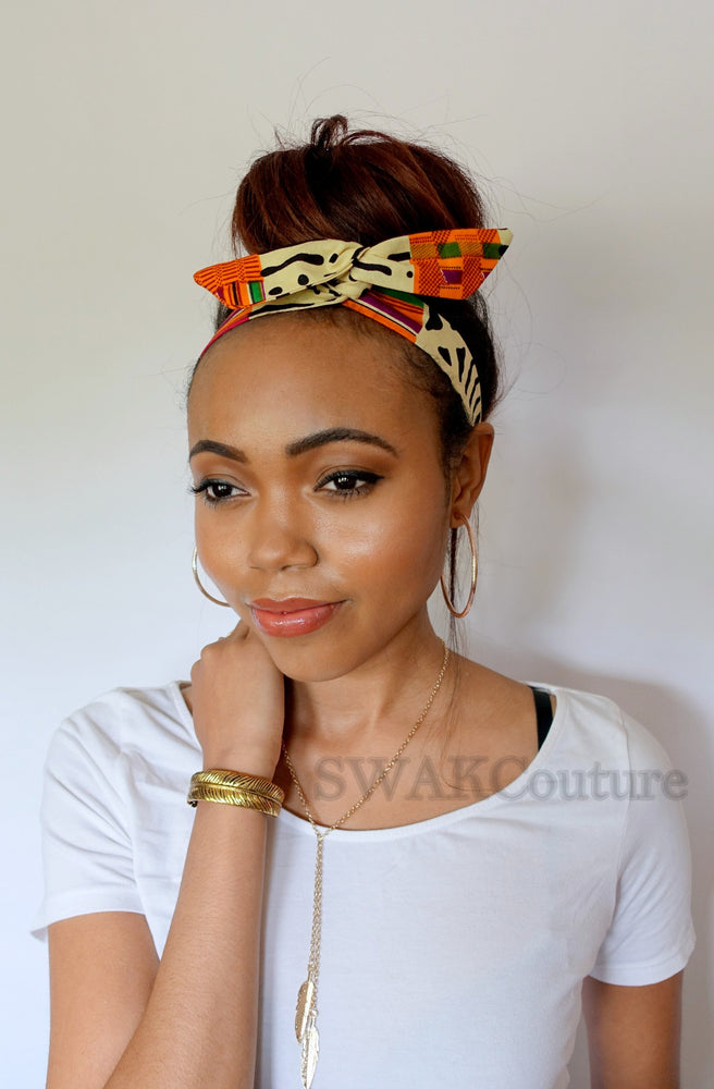 Mod Kente Bun Wire Wrap Headband - or Choose Color