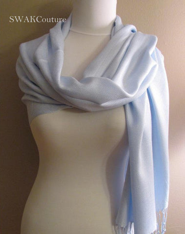 Light Blue Wedding Pashmina Scarf Bridal Shawl - or CHOOSE Your Color