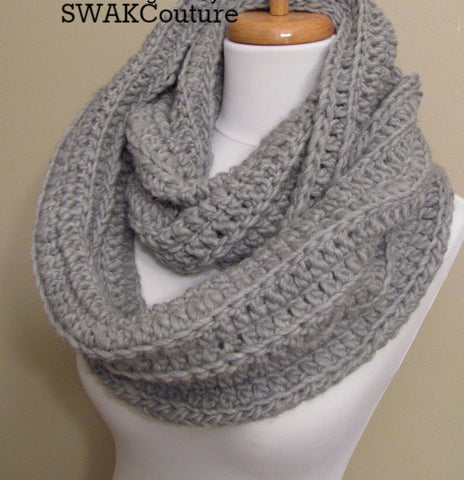 Ribbed Eternity Scarf 100% Wool - Light Gray or Choose Your Color