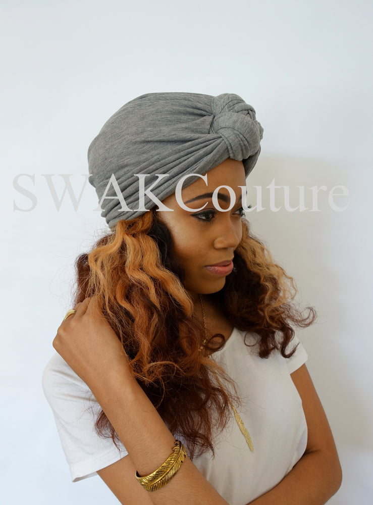 Knot Jersey Turban - Light Gray