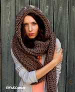 Lofty Hooded Scarf  - Charcoal Gray (20 color options)