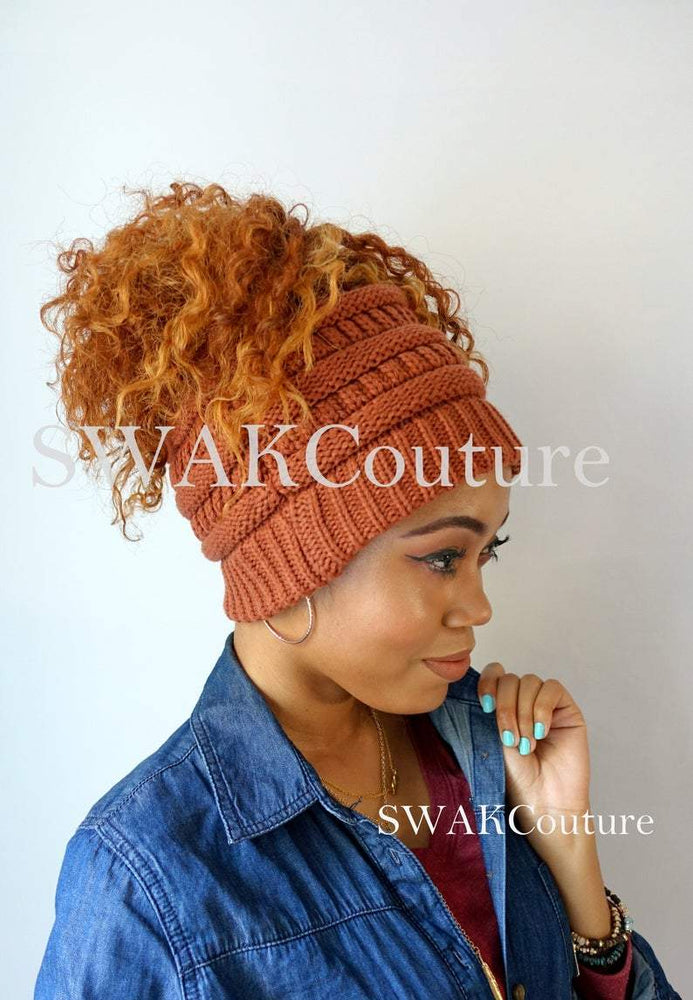 Messy Bun Afro Puff Beanie - Rust ( or 11 color choices)
