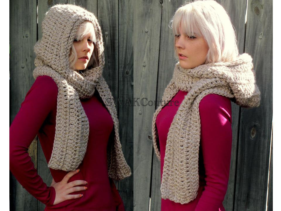 Lofty Hooded Scarf with Metallic Thread Accent