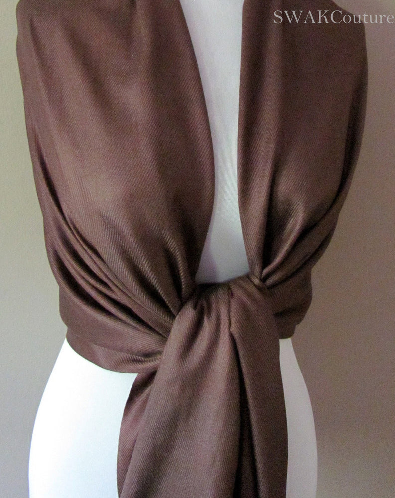 Wedding Pashmina Mocha Brown Scarf Bridal Shawl - or CHOOSE Your Color