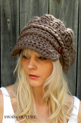 7d998a9caf5e2  48.00 Slouchy Hat Handmade hat Beanie Crochet Hat Knit Cap Leather Hat  affordable Hat Trendy Accessories Bohemian · Button Band Slouchy Newsboy Cap