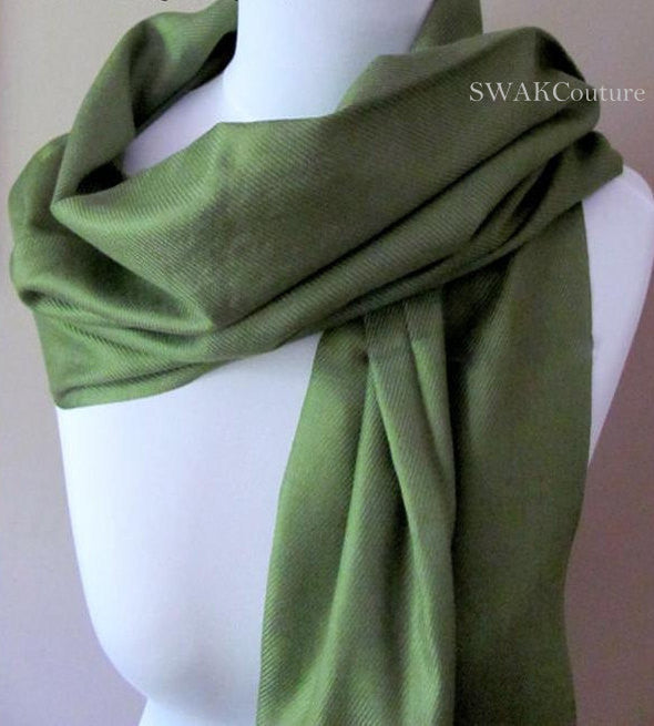 Wedding Pashmina Moss Green Scarf Bridal Shawl - or CHOOSE Your Color