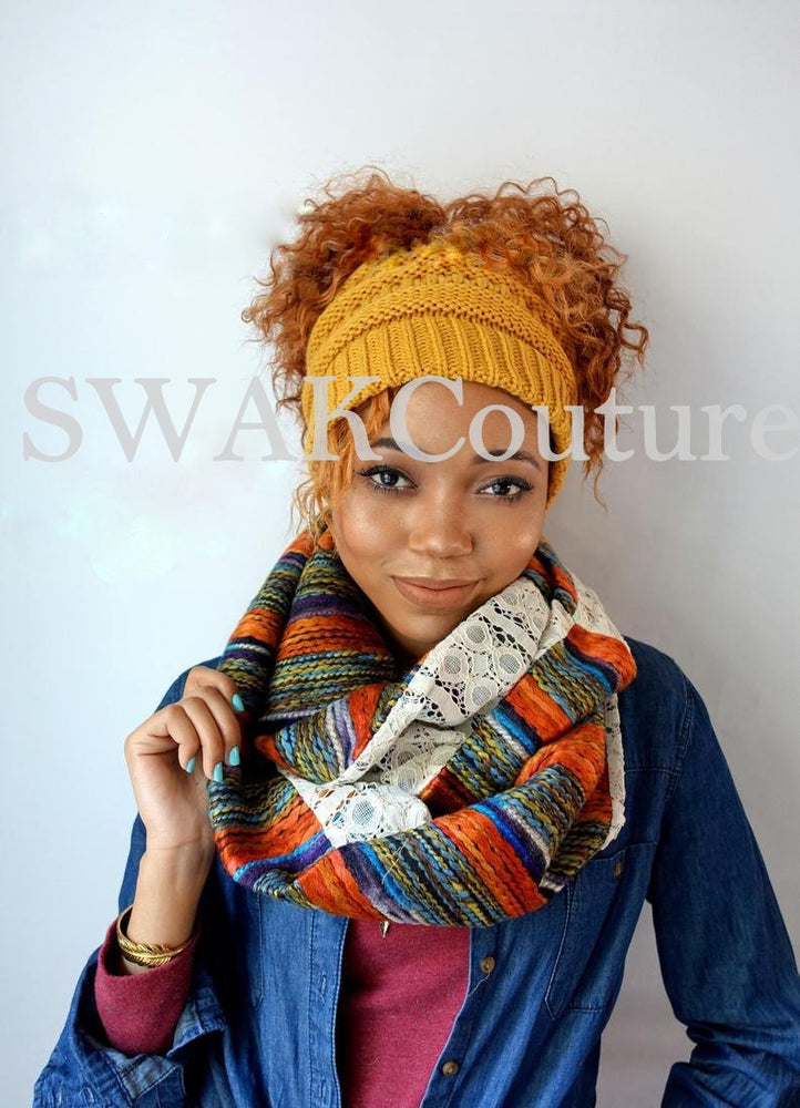 Messy Bun Afro Puff Beanie - Mustard or choose color