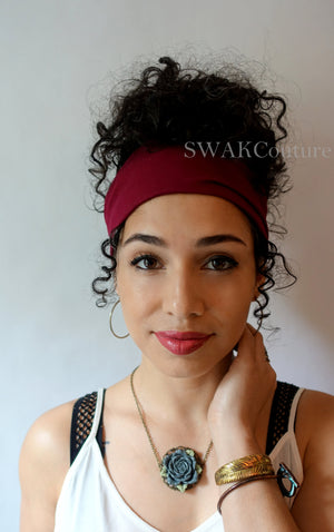 Narrow Satin Lined Headband Wrap (14 SOLID COLORS)