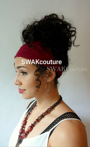 Satin Lined wide headband twa wrap for Natural curly hair