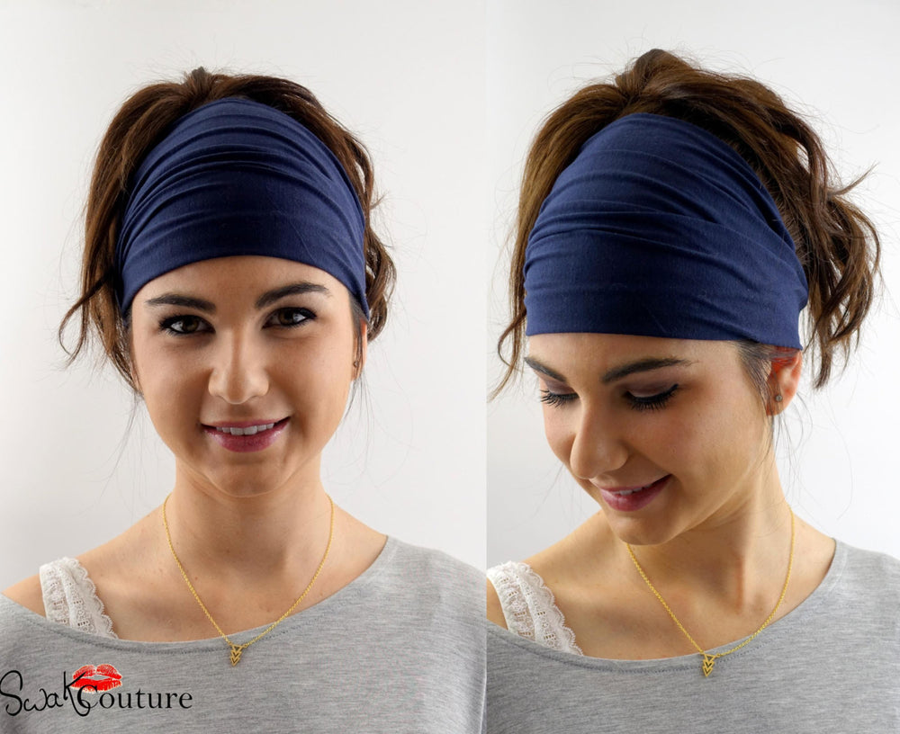 Yoga Head Wrap Cotton Jersey Wide Headband - Navy Blue or Choose Your Color