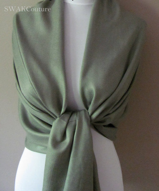 Wedding Pashmina Olive Green Scarf Bridal Shawl - or CHOOSE Your Color
