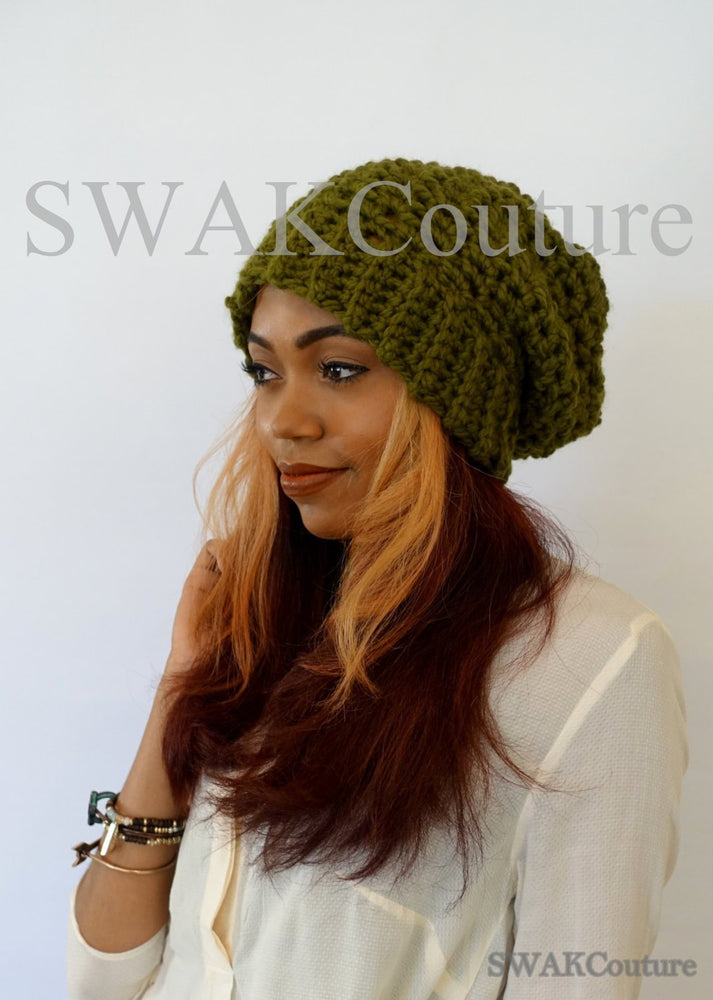 Downtown Slouchy Beanie - Olive Green