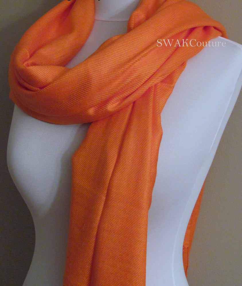 Wedding Pashmina Orange Scarf Bridal Shawl - or CHOOSE Your Color