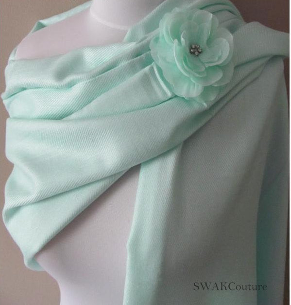 Pale Mint Green Wedding Pashmina Scarf Bridal Shawl - or CHOOSE Your Color