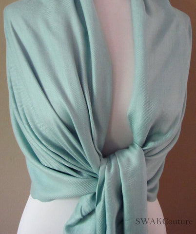 Wedding Pashmina Pale Tiffany Blue Scarf Bridal Shawl - or CHOOSE Your Color