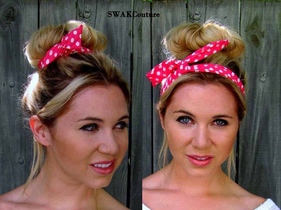 Bun Wire Wrap Headband - Pink White Polka or Choose Color