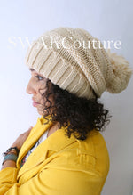 Pom Pom Satin Lined Slouchy Beanie - Sand (or choose Color)