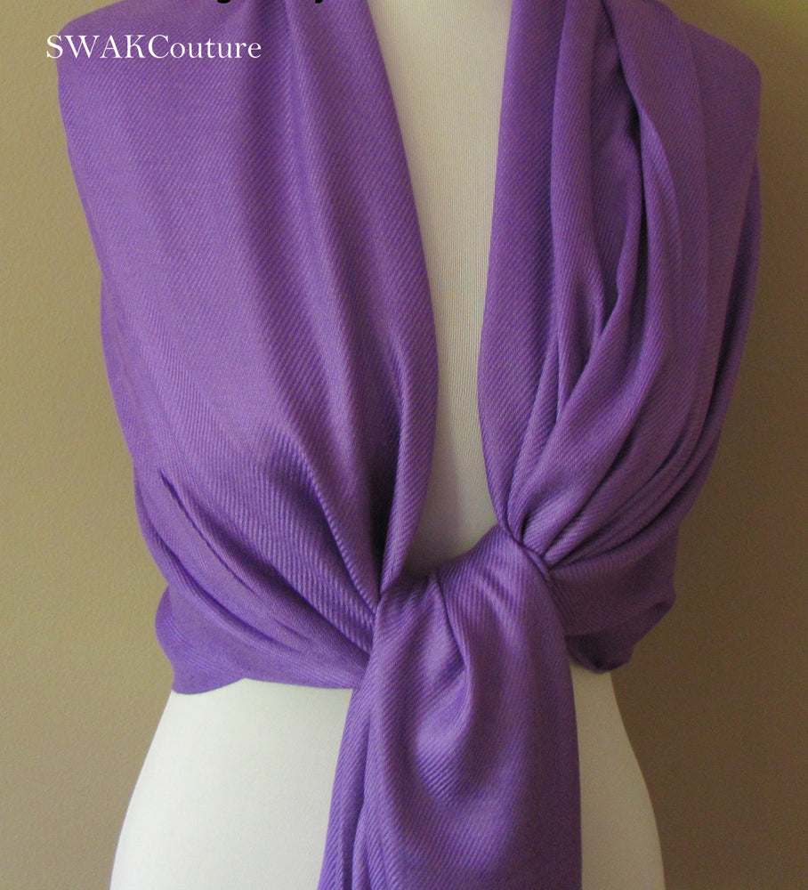 Wedding Pashmina Purple Scarf Bridal Shawl Wrap - or CHOOSE Your Color