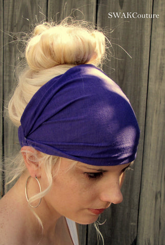 Yoga Head Wrap Cotton Jersey Wide Headband - Purple or Choose Your Color