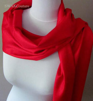 Wedding Pashmina Red Scarf Bridal Shawl Wrap - or CHOOSE Your Color