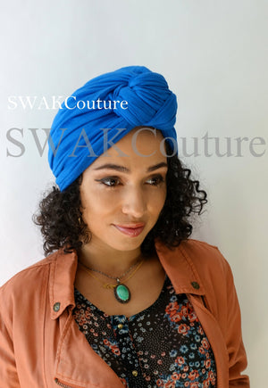 Knot Jersey Turban - Navy Blue or Choose Color