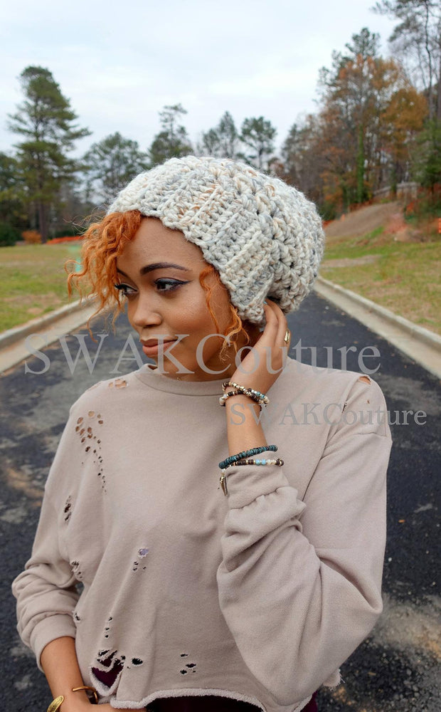 Downtown Slouchy Satin Lined Beanie - SNOWCAPS