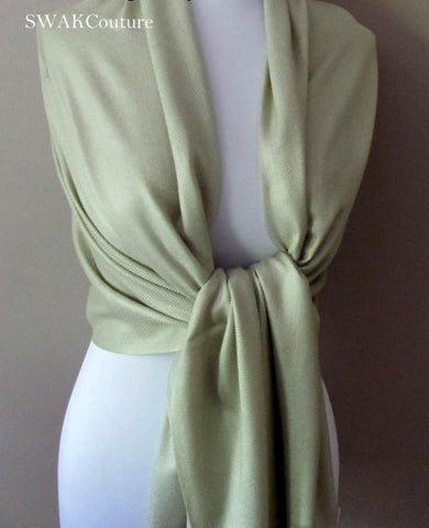 Wedding Pashmina Summer Green Scarf Bridal Shawl Wrap - or CHOOSE Your Color