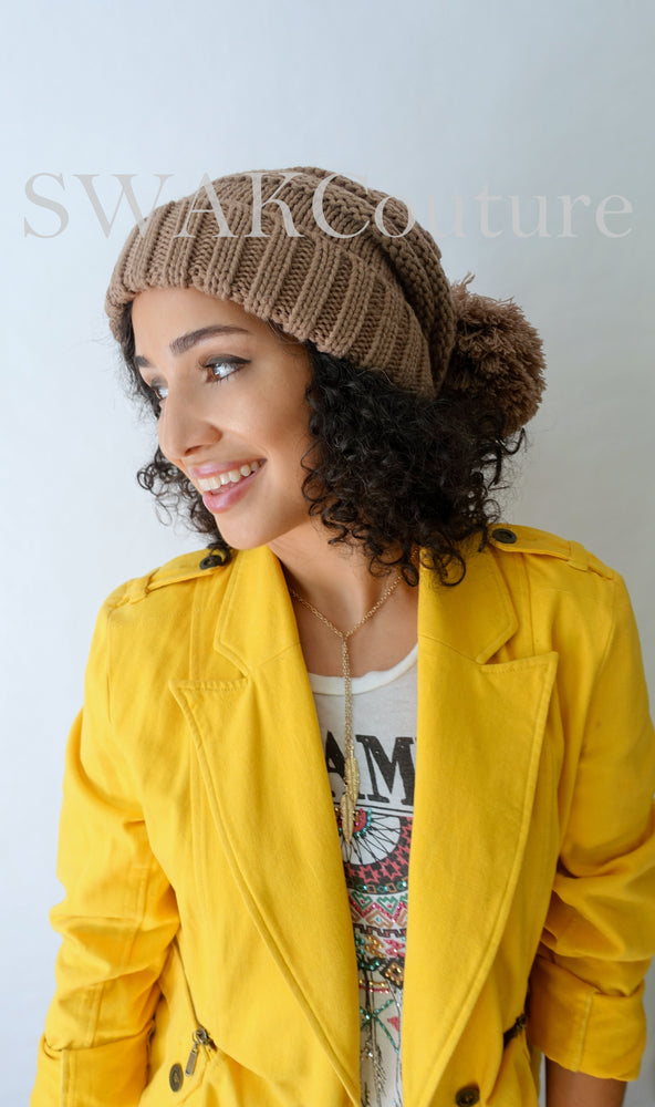 Pom Pom Slouchy Beanie - Taupe (or choose Color)