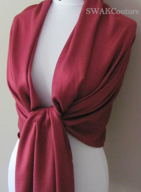Wedding Pashmina Scarf Wine Red Bridal Shawl Wrap - or CHOOSE Your Color