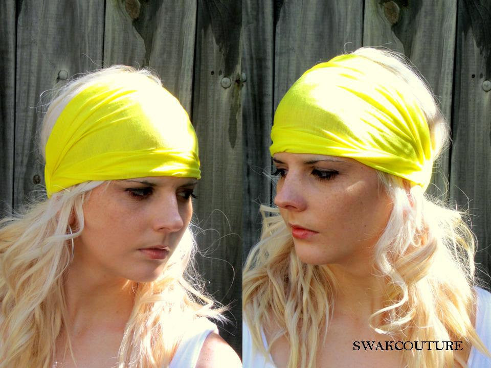 Yoga Head Wrap Cotton Jersey Wide Headband - Yellow or Choose Your Color
