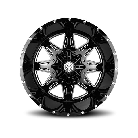 ROAD RAGE NOVA 22X12</br>BLACK MILLED WHEELS