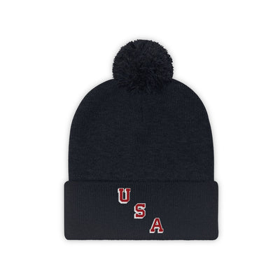 USA Forgotten Miracle Inspired Embroidered Pom Pom Beanie